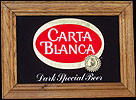 Carta Blanca Dark Special Beer Oak Framed Reflective Glass Plaque
