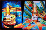 Set of 2 Corona Light Simulated Oil Painting Beach Scenes Tin Signs