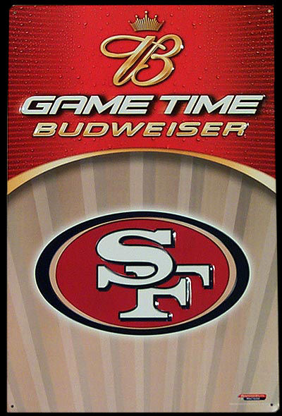 Budweiser San Francisco 49ers Tin Beer Sign
