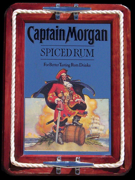 Captain Morgan Spiced Rum Bar Mirror Tray