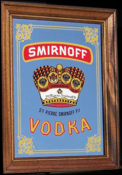 Smirnoff Vodka Large Vintage Classic Oak Framed Bar Mirror