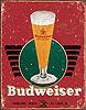 Budweiser Glass of Beer Retro Tin Sign
