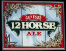Genesee Twelve Horse Ale NEW Reflective Glass Plaque Bar Mirror
