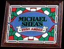 Michael Shea's Irish Amber Simulated Stained Glass Bar Mirror