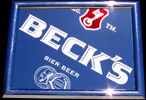 Beck's German Beer Etched Glass New Bar Mirror