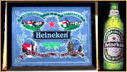 Heineken Amsterdam Rotterdam Breweries Bar Back Mirror with Free Tin Bottle Sign