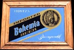 Bohemia Imported Mexican Beer Oak Framed Bar Mirror