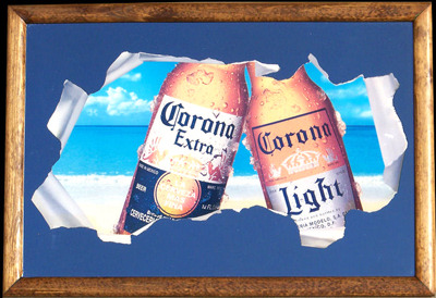 Corona Extra And Corona Light Tear Away Beach Bar Mirror