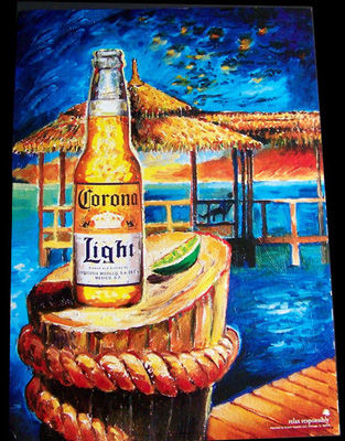 Set of 2 Corona Light Simulated Oil Painting Beach Scenes ...