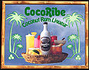 CocoRibe Coconut Rum Liqueur Simulated Bamboo Frame Vintage Bar Mirror