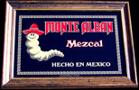Monte Alban Mezcal Reflective Glass Plaque Bar Mirror