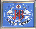 J&B Justerini Brooks Brass Framed Scotch Whisky Vintage Bar Mirror