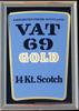 Vat 69 Gold Scotch Whisky Brass Framed Vintage Bar Mirror