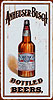 Anheuser Busch Vertical Bottled Beers Tin Sign