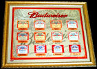 Budweiser Historic Labels 2005 Beveled Glass Mirror