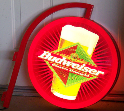 Budweiser Illuminated Double-Sided Pub Light