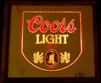 Coors light vintage 1980 illuminated wood framed bar mirror aloadofball Image collections