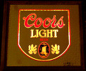 Coors Light Vintage 1980 Illuminated Wood Framed Bar Mirror