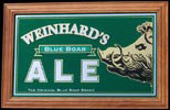 Henry Weinhard's NEW Blue Boar Ale Reflective Glass Plaque Bar Mirror