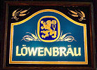 Lowenbrau Illuminated Oak Framed Glass Sign