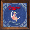 Miller High Life Girl on the Moon Vintage Bar Mirror
