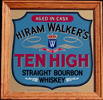 Hiram Walker's Ten High Vintage Oak Framed Bar Mirror