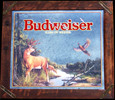 Budweiser Deer and Pheasant Smoked Glass Hunting Lodge Wildlife Mirror
