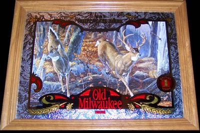 Old Milwaukee Beer Whitetail Deer Wildlife Mirror